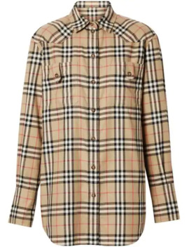 Vintage Check Flannel Oversized Shirt by Burberry
