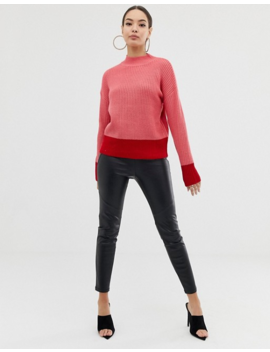 Lipsy Roll Neck Sweater With Fluted Sleeve In Color Block by Lipsy