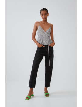 Sequinned Wrap Top Tops T Shirts Trf by Zara