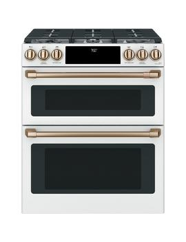 30 In. 6.7 Cu. Ft. Slide In Double Oven Gas Range With Self Cleaning Convection In Matte White, Fingerprint Resistant by Cafe