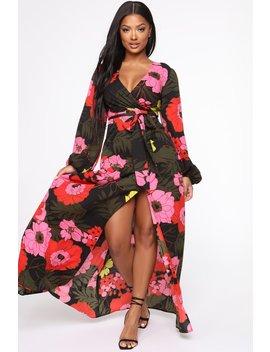 Floral Escape Maxi Dress   Red/Combo by Fashion Nova