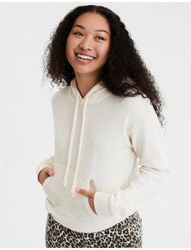Ae Fleece Waffle Cropped Hoodie by American Eagle Outfitters