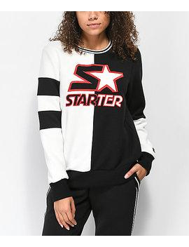 Starter Fly Girl Black & White Colorblocked Crew Neck Sweatshirt by Starter