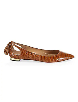 Forever Marilyn Cutout Croc Embossed Leather Ballet Flats by Aquazzura