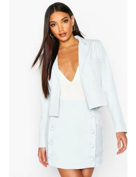 Button Front Tailored Mini Skirt by Boohoo