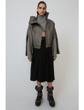 Deconstructed Leather Jacket Grey by Acne Studios