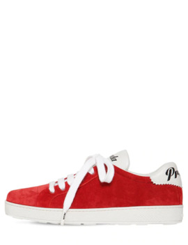 10 Mm One Suede & Leather Logo Sneakers by Prada