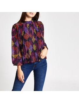 Pink Leopard Print Pleated Blouse by River Island