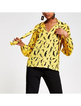 Yellow Print Tie Neck Long Sleeve Blouse by River Island