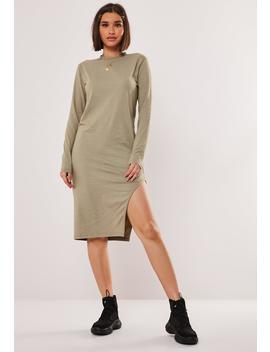 Khaki Side Split Midi Dress by Missguided