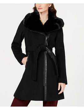 Asymmetrical Belted Faux Fur Collar Coat, Created For Macy's by General