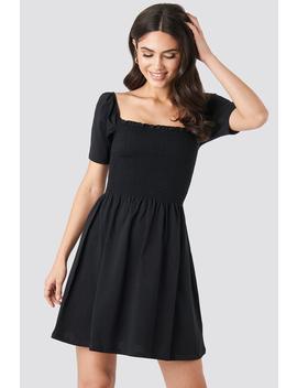 Puff Sleeve Shirring Mini Dress Schwarz by Na Kd