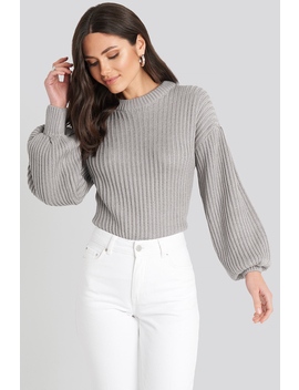 Balloon Sleeve Round Neck Sweater Grau by Na Kd