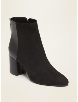 Faux Suede/Faux Leather Block Heel Boots For Women by Old Navy