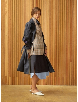 Lace Detail Slit Jacket Check by Clue De Clare