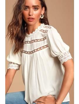 Always True White Crochet Lace Short Sleeve Top by Lulus