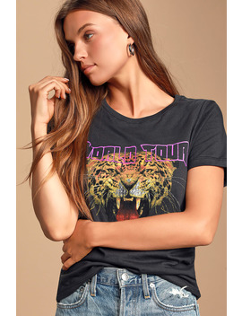 Tiger Tour Washed Black Graphic Tee by Prince Peter