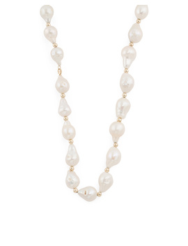 14k Gold And Baroque Pearl Gold Bead Necklace by Tj Maxx