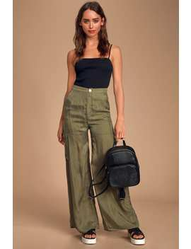 Gabbie Olive Green Satin Wide Leg Cargo Pants by Honey Punch