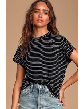 Rafina Black And White Striped Crew Neck Tee by Lulus