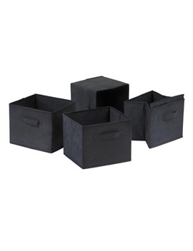 Capri Set Of 4 Foldable Fabric Baskets   Black   Winsome by Black