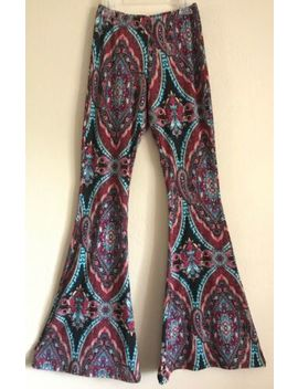 (B47) Hippie Boho Multicolored Patterned Bell Bottom Pants See You Monday Xs by See You Monday