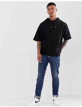 Asos Design Oversized Short Sleeve Hoodie In Black by Asos Design