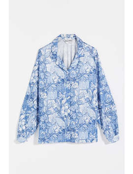 Vintage Blue Tonal Floral Button Down Shirt by Urban Renewal