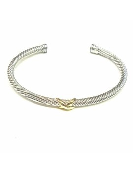 Stellar 18k Yellow Gold And Sterling Silver X Station Cable Cuff Bangle Bracelet by David Yurman
