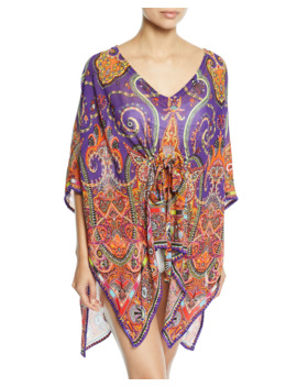 Printed V Neck Coverup Caftan by Etro