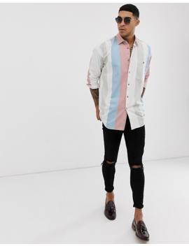 Asos Design Drop Shoulder Oversized 90s Stripe Shirt In Pink by Asos Design