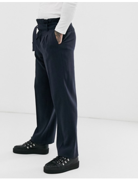 Asos Design Wide Leg Smart Pants With Multi Pleat Detail In Navy by Asos Design
