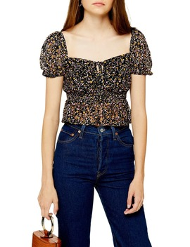 Ditsy Floral Lace Crop Top by Topshop