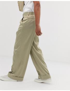 Asos Design Wide Leg Smart Pants In Olive High Shine Satin by Asos Design