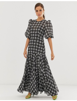 Asos Edition Puff Sleeve Maxi Dress In Mono Check by Asos Edition