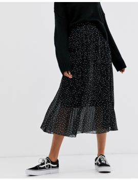 New Look Pleated Midi Skirt In Black Polka Dot by New Look
