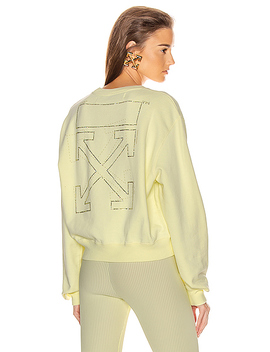 Shifted Crop Crewneck Sweatshirt by Off White