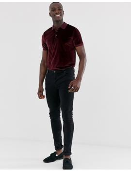 Asos Design Tall Polo Shirt In Velour In Burgundy by Asos Design