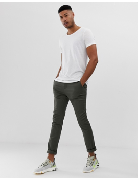 Asos Design Tall Longline T Shirt With Scoop Neck And Curved Hem In Linen by Asos Design