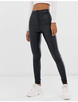 Noisy May Tall Coated Skinny Jeans In Black by Noisy May