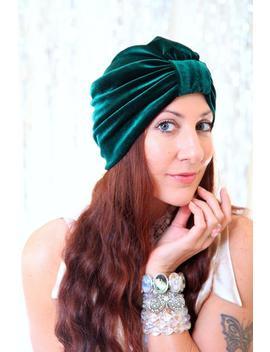 Velvet Turban In Hunter Green   Turban Hat   Women's Hair Turbans   Dark Green Turban Headwrap   Bohemian Style Head Turban by Etsy