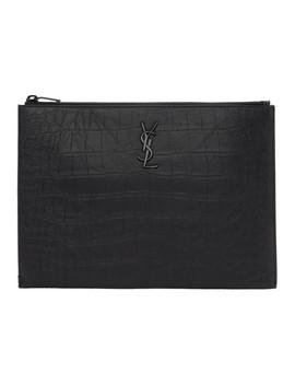 Black Croc Monogramme I Pad Pouch by Saint Laurent