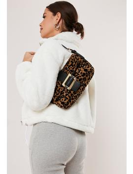 Brown Leopard Print Buckle Detail Shoulder Bag by Missguided