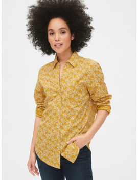 Floral Print Fitted Boyfriend Shirt by Gap