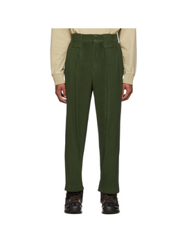 Green Large Pleat Trousers by Homme PlissÉ Issey Miyake