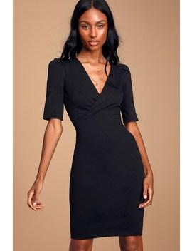 Attitude Is Everything Black Surplice Bodycon Dress by Lulus