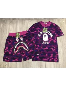 Hot A Bathing Ape Camo Outfits Bape Tracksuit Shark Face Shorts Ape Head Tee by Bape
