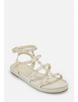 Nude Espadrille Stud Gladiator Sandals by Missguided