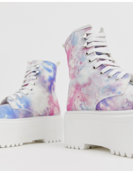 Asos Design Acton Chunky Lace Up Boots In Tie Dye by Asos Design