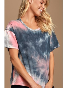 Groovy Navy Blue And Coral Pink Tie Dye Tee by Lulu's